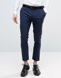 Asos Super Skinny Smart Cropped Trousers In Navy Navy
