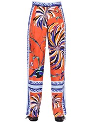 Emilio Pucci Floral Printed Silk Twill Trousers