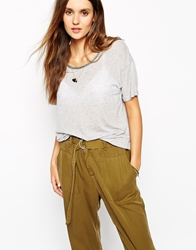 Maison Scotch Nep T Shirt With Embroidery Greymelange