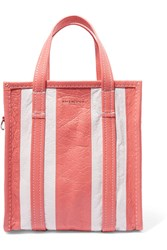 Balenciaga Bazar Small Striped Textured Leather Tote Coral
