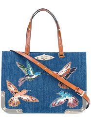 Red Valentino Embroidered Birds Denim Tote Blue