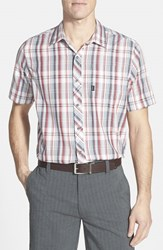 Travis Mathew Men's 'Haskell' Trim Fit Short Sleeve Plaid Sport Shirt