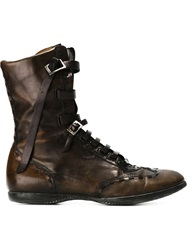 Fendi Vintage Lace Up High Top Boots Brown