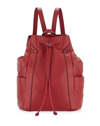 Kooba Connor Leather Drawstring Sling Backpack Red Russia