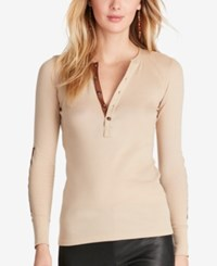 Polo Ralph Lauren Leather Trim Henley Spring Sand