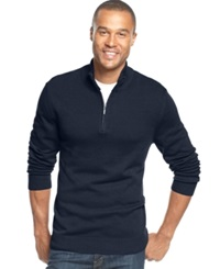 John Ashford Solid Quarter Zip Sweater Navy Blue