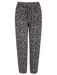 Yumi Ditsy Floral Print Trousers Navy