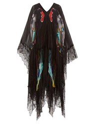 Romance Was Born Why The Butterflies Sheer Layered Chiffon Dress Black Multi