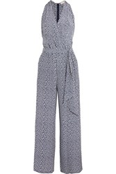 Tory Burch Wrap Effect Polka Dot Silk Crepe De Chine Jumpsuit Midnight Blue