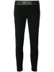 Versace Jeans Logo Plaque Cropped Trousers Black