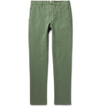 Incotex Slim Fit Stretch Cotton Twill Chinos Army Green
