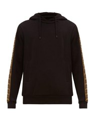 Fendi Logo Jacquard Tape Hooded Sweatshirt Black