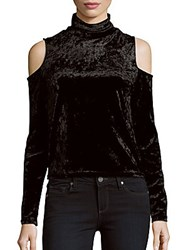 Saks Fifth Avenue Red Crushed Velvet Party Top Black