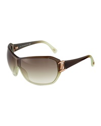 Tod's Ombre Injected Shield Sunglasses Dark Brown Light Green