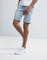 Pull And Bear Distressed Denim Shorts In Light Wash Blue