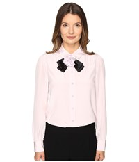 Kate Spade Rosette Bow Silk Shirt Plumdawn Women's Clothing Pink