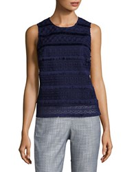 Lord And Taylor Sleeveless Lace Top Evening Blue