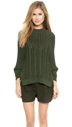 3.1 Phillip Lim Cable Stitch Sweater Army Green