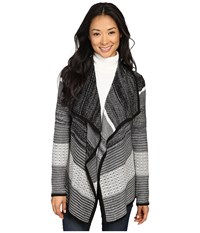 Ivanka Trump Open Fly A Way Cardigan Black Ivory Oatmeal Women's Sweater Gray