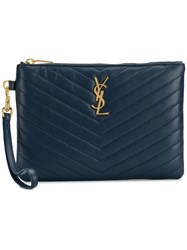 Saint Laurent Monogram Clutch Blue
