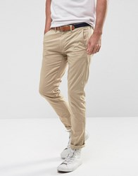 Selected Homme Slim Chinos With Belt White