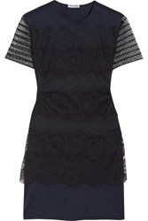 Miu Miu Lace And Cotton Jersey Mini Dress Navy