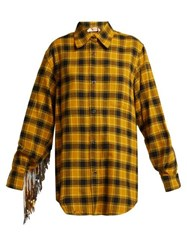 No. 21 Sequinned Checked Cotton Shirt Black Yellow