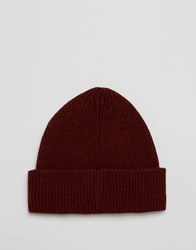 Asos Fisherman Beanie In Burgundy Burgundy Red