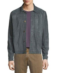 Billy Reid Cullen Button Front Suede Jacket Gray