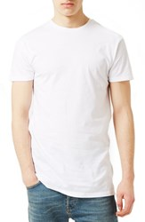Topman Men's Muscle Fit Longline T Shirt White