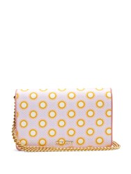Miu Miu Circle Print Canvas And Leather Cross Body Bag Pink Multi