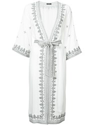 Loveless Embroidered Draped Coat White