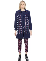 Mother Of Pearl Embellished Stretch Cotton Blend Coat