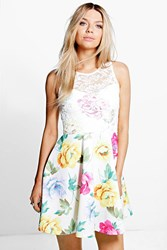 Boohoo Floral Lace Overlay Skater Dress White