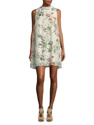 Molly Bracken Botanical Print Shift Dress Off White