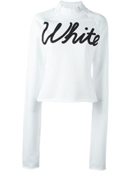 Off White Logo Print Sweatshirt White