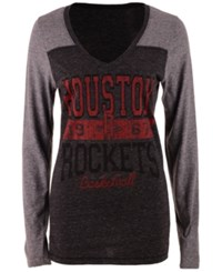 5Th And Ocean Women's Houston Rockets Dunk Long Sleeve T Shirt Black Gray