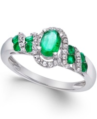 Macy's Emerald 5 8 Ct. T.W. And Diamond 1 6 Ct. T.W. Twist Ring In Sterling Silver Green