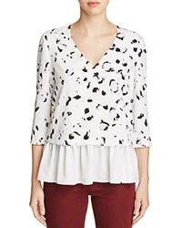Cooper And Ella Renata Printed Peplum Top Brushstroke Print