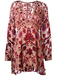For Love And Lemons 'Sunset Floral' Dress Pink Purple