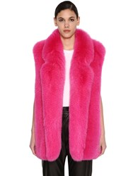 Blancha Long Shadow Fur Vest Shocking Pink