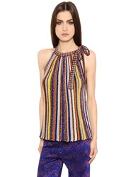 Missoni Striped Lame Rib Knit Top With Bow