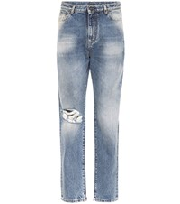 Saint Laurent High Rise Distressed Jeans Blue