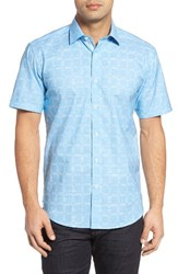 Bugatchi Men's Shaped Fit Check Sport Shirt Turquoise