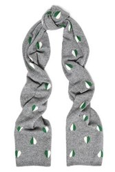 Chinti And Parker Jacquard Knit Wool Cashmere Blend Scarf Gray