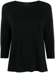 Luisa Cerano Cropped Sleeves Plain T Shirt 60