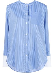 Tome Collarless Striped Shirt Blue