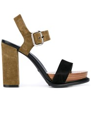 Tod's Strappy Sandals Women Leather Suede Rubber 37.5 Green
