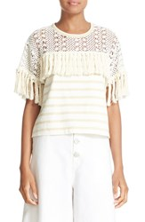 See By Chloe Women's Fringe Embellished Tee