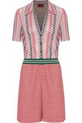 Missoni Crochet Knit Playsuit Red